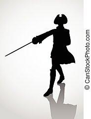 Silhouette of seventeenth century swordsman