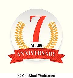 Seventh anniversary badge label