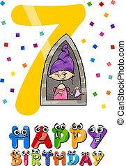 seventh birthday cartoon design