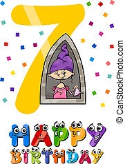 seventh birthday cartoon design