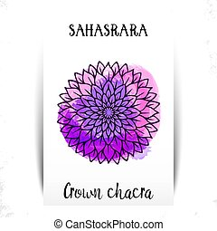Seventh, crown chakra - Sahasrara. Illustration of one of the seven chakras. The symbol of Hinduism, Buddhism. Violet watercolor fog splashes on background.