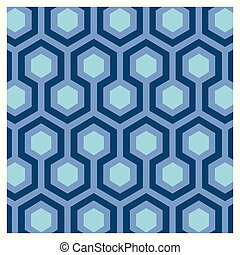 Seventies blue wallpaper - Geometric background for a...