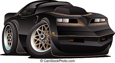 Seventies Classic Muscle Car Cartoon Vector Illustration