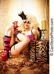 Seventies Fashion - Vintage seventies style model posing...