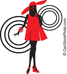 Seventies fashion woman silhouette