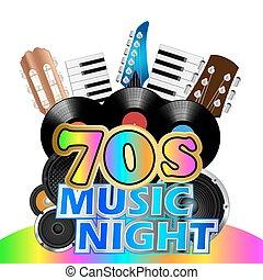 Seventies Music Night Background