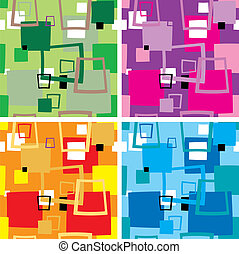 four colour variations of a seventies wallpaper with the use of squares