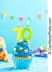 Seventieth 70th birthday cupcake with candle. Card mockup. -...