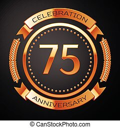 Seventy five years anniversary celebration with golden ring and ribbon.