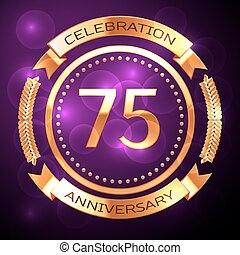 Seventy five years anniversary celebration with golden ring and ribbon on purple background.