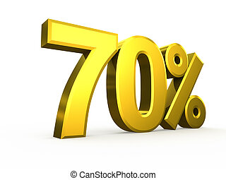 Seventy percent symbol on white background
