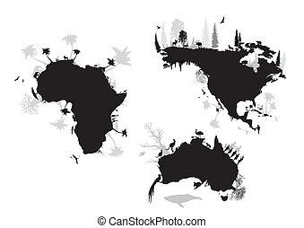 sever, austrálie, amerika, afrika