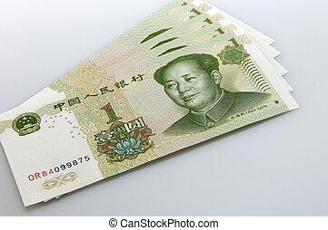 yuan bank note - several 1 yuan bank notes close up
