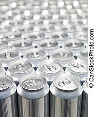 Aluminium Cans - Several Aluminium Cans at a warehouse