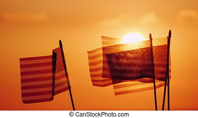 Several American flags against the setting sun and orange...
