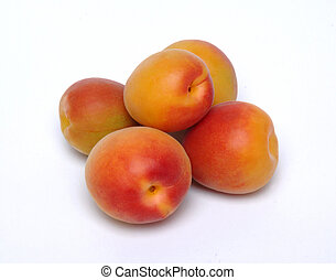 apricots - several apricots on white