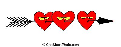 Several arrow-shot hearts with unhappy expressions. Cute ...