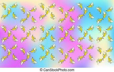 several banana on abstract rainbow background