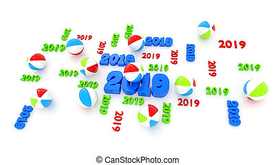 Several Beach Ball 2019 Designs with Some Balls on a White...