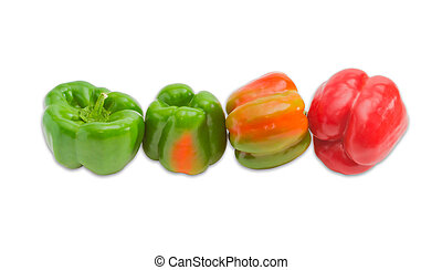 Several bell peppers on a light background