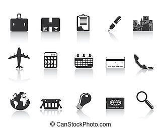 several black business icons for web design