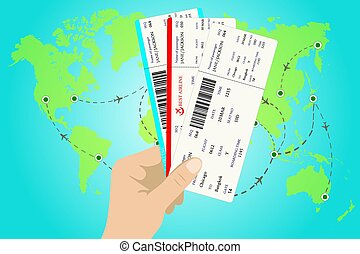 Several boarding passes tickets with QR2 code in hand