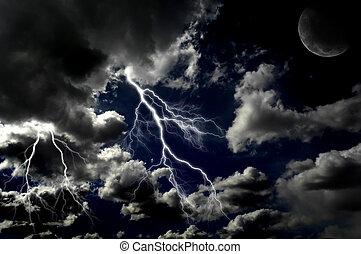 Several bolts of lightning in night sky with moon in the clouds
