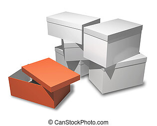 Several boxes of gifts on a white background. Orange box is open. Insulated render.