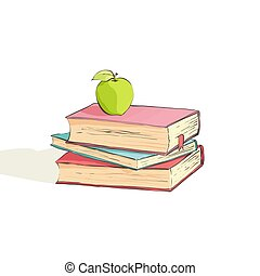 Several bright books on a white background