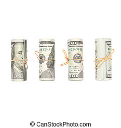 Several bundles of US dollars isolated on white background