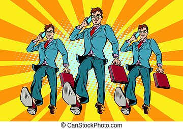Several businessmen with telephone marching