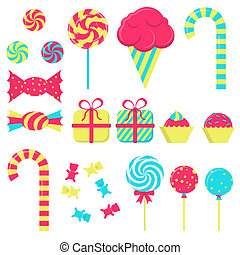 Several candies in white background. Lollipop, ice cream,...