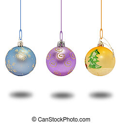 Several christmas decorative ball on white background