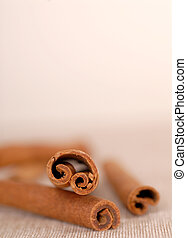 Several cinnamon sticks with a very shallow depth of field