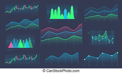 A set of animated color line and candlestick graphs on the alpha channel.