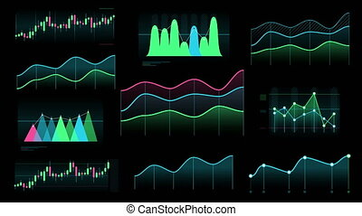 A set of animated color line and candlestick graphs on the black background.