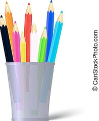 Several color pencils in a cup. Vector Illustration