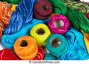 several color spools of thread for embroidery