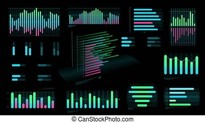 Several colored Bar charts on a black background