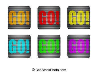 illustration icon with the word go