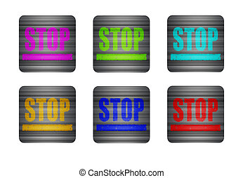 illustration icon with the word STOP
