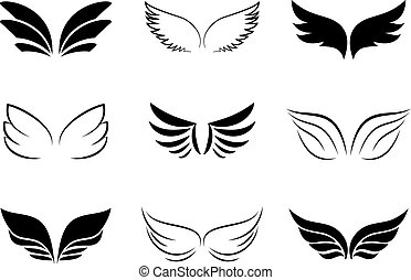 Several Different Wing Designs on white background.