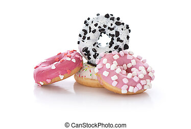 several donuts on a white background