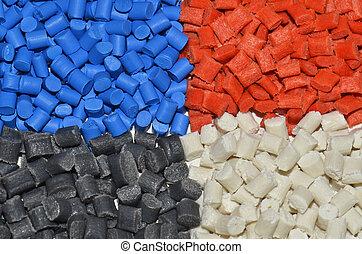 several dyed polymer resins