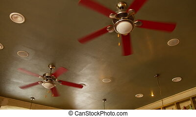 Several electric fans hang on the ceiling in a cafe, camera ...