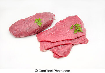Several fillets of beef on white background