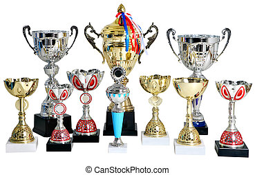 Several gold and silver prize cup, trophy, on white background