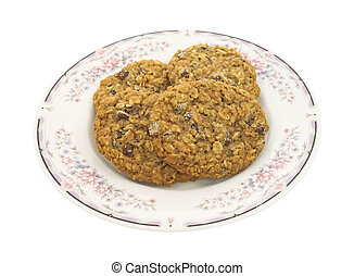 Several granola cookies on plate