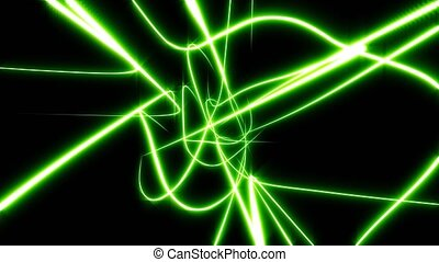 Several green abstract lines merge and rotate. Black...