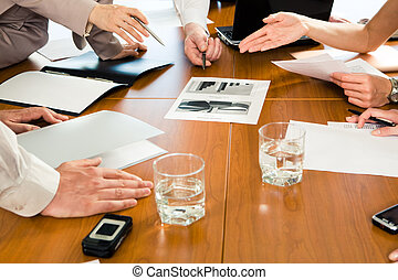 Several hands - Image of several human hands during business...